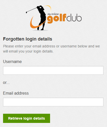 Forgotten password username or email
