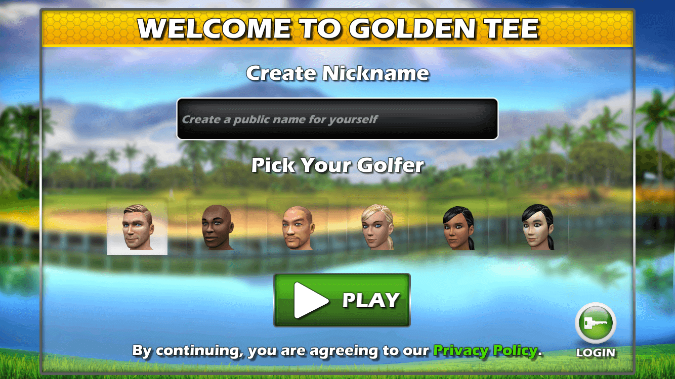 Golden Tee Golf Welcome Screen
